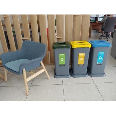 Odpadkový koš na tříděný odpad TRIO, 3 x 70 l