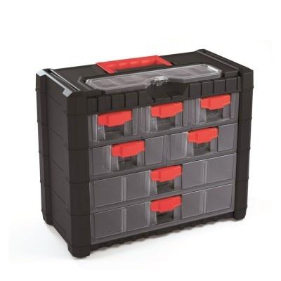 Plastový organizér závěsný, červené úchyty, 400x200x326 mm