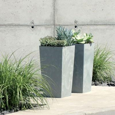 Květináč s vnitřní nádobou, šířka 40 cm - světle šedá