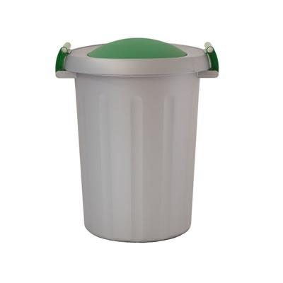 Odpadkový koš na tříděný odpad CLICK 25 l - šedá nádoba, červené víko