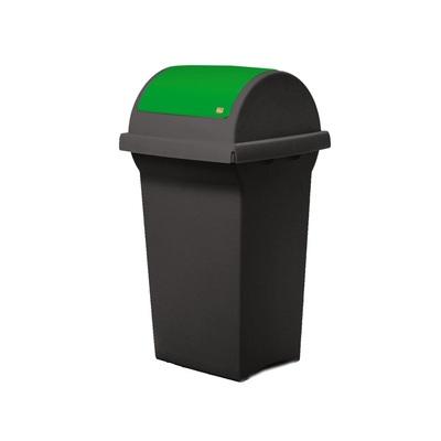Odpadkový koš na tříděný odpad SWING 50 l - černá nádoba, červené víko