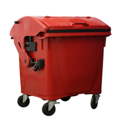 Plastový kontejner 1100 l víko ve víku, červený