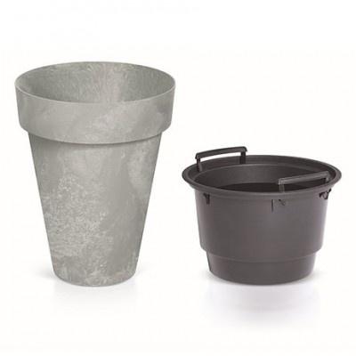 Květináč s vnitřní nádobou, průměr 46,1 cm - světle šedá