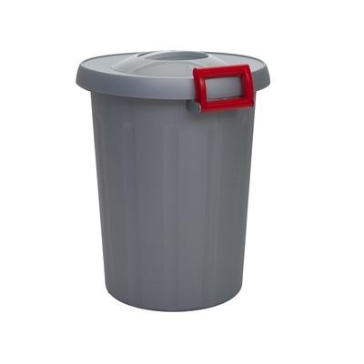 Odpadkový koš na tříděný odpad OKEY 25 l - šedá nádoba, žlutá madla