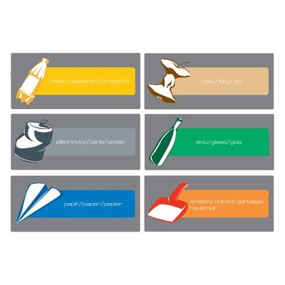 Etikety ke třídění odpadu - sada 6 ks