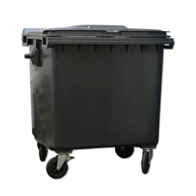 Plastový kontejner 1100 l s plochým víkem