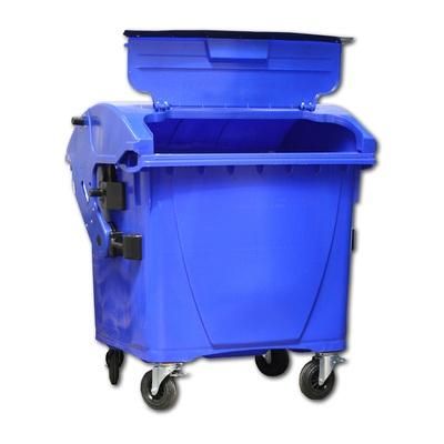 Plastový kontejner 1100 l víko ve víku, modrý