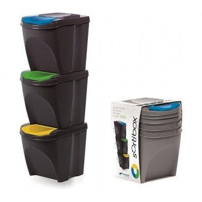 Sada 3 odpadkových košů SORTIBOX antracit