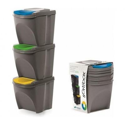 Sada 3 odpadkových košů SORTIBOX šedý kámen