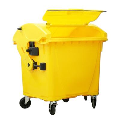 Plastový kontejner 1100 l víko ve víku, žlutý