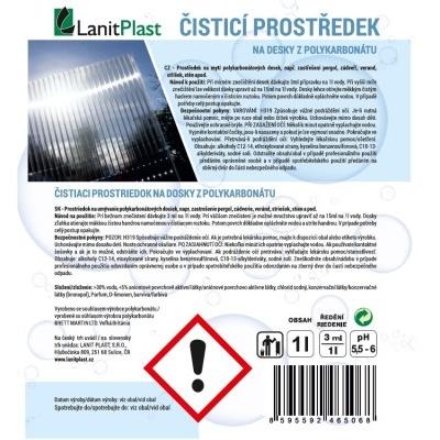 čisticí prostředek LANITPLAST na desky z polykarbonátu