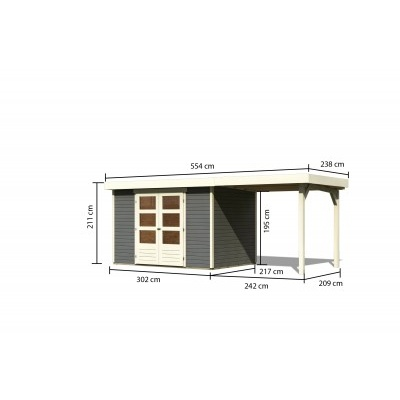 Dřevěný domek KARIBU ASKOLA 4 + přístavek 240 cm (92070) tm. šedý