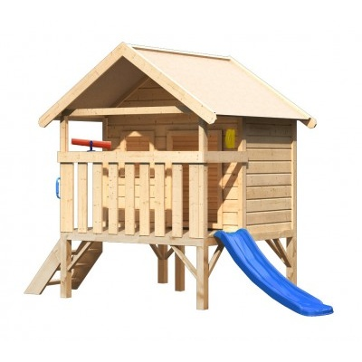 Dětský domek KARIBU MINI 89334 + modrá skluzavka