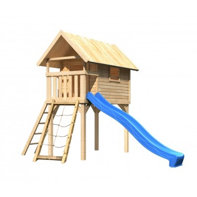 Dětský domek KARIBU GERNEGROSS 91193 natur + modrá skluzavka + síť