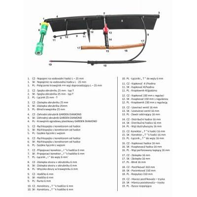 Spojka obrubníku 25 mm - typ T (1 ks)