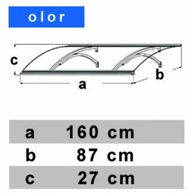 Vchodová stříška LANITPLAST OLOR 160/87 hnědá